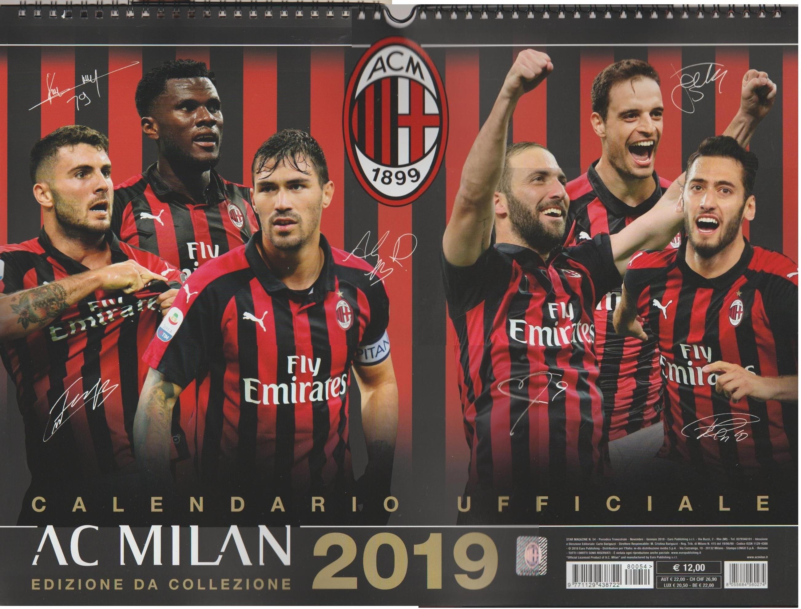 Calendari Milan Calendario Milan 2019 - Orizzontale