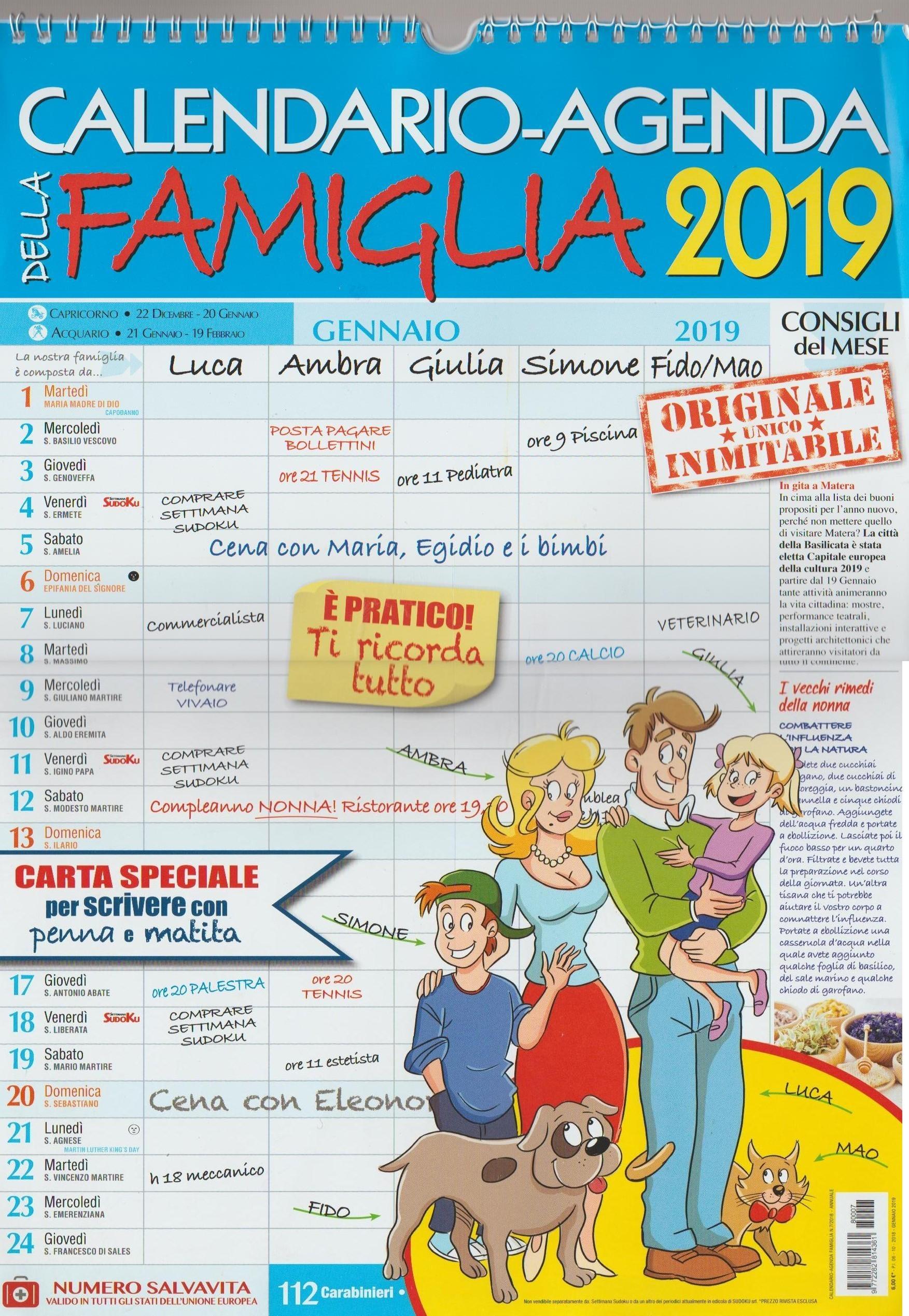 Calendario-Agenda della famiglia 2019 - cm30x43 spiralato