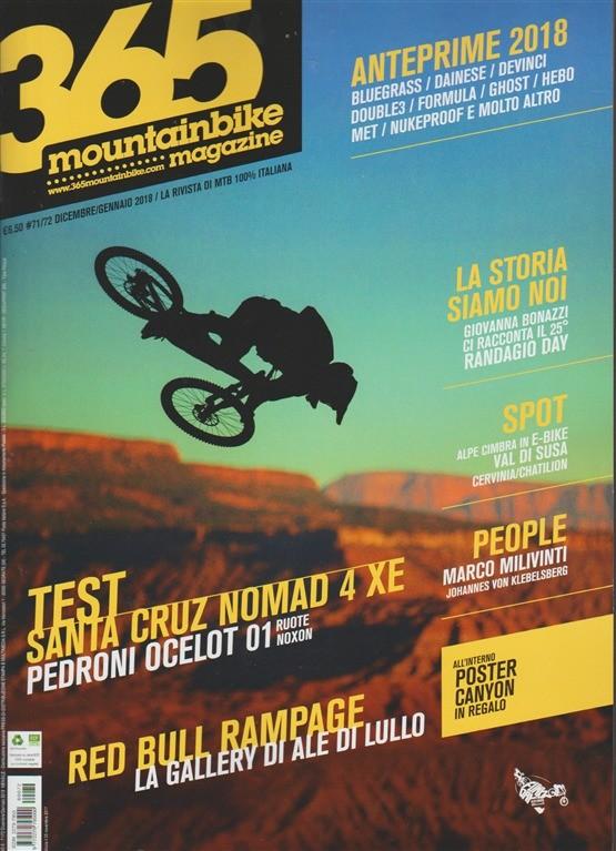 365 Mountain Bike Magazine - mensile n. 72 Dicembre 2017 Poster Canyon in regalo