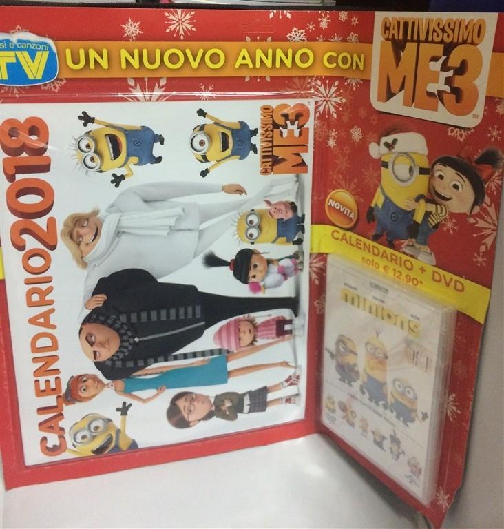 Calendario Cattivissimo Me 3 2018 - cm. 34x56 + DVD Minions