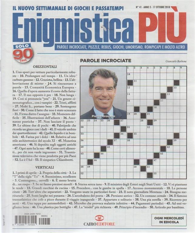 Enigmistica Piu' - n. 41 - 17 ottobre 2018 - setimanale