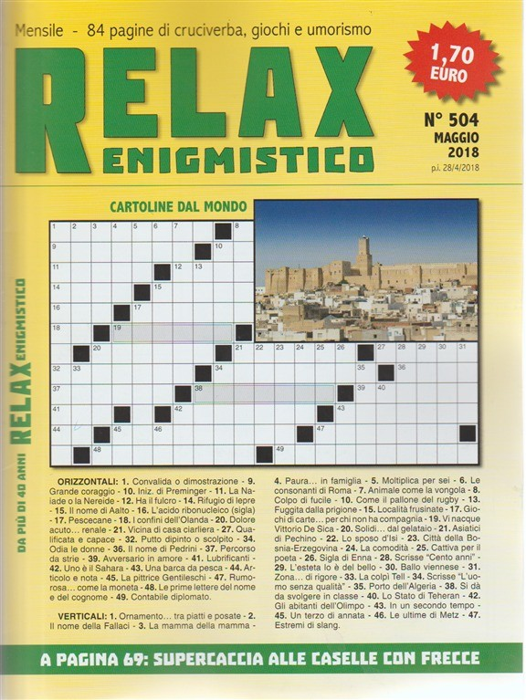 Relax enigmistico n. 504 - maggio 2018 mensile