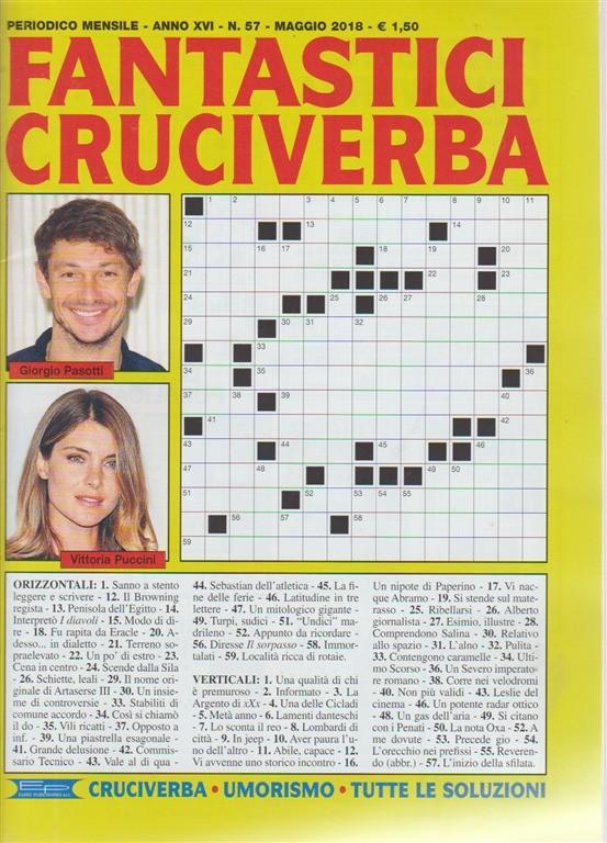 Fantastici Cruciverba n. 57 - periodico mensile - maggio 2018