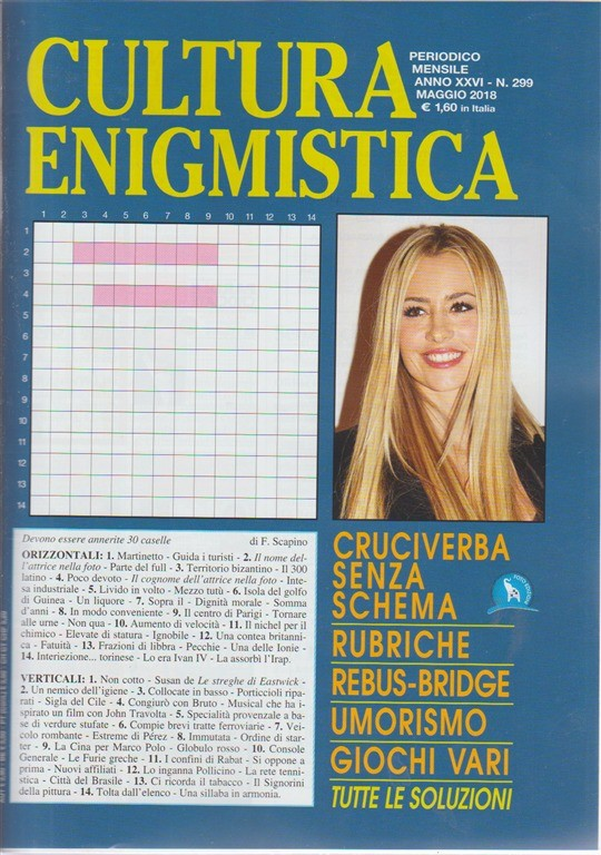 Cultura Enigmistica n. 299 - periodico mensile - maggio 2018