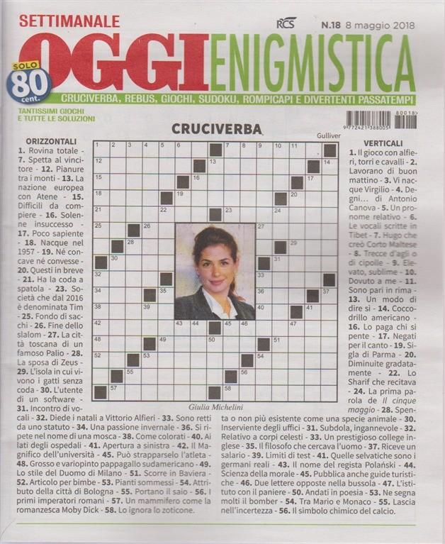 Settimanale Oggi Enigmistica n. 18 - 8 maggio 2018