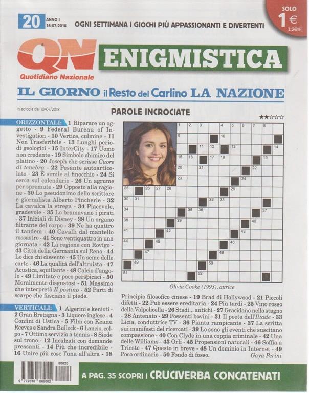 Enigmistica - n. 20 - 16 - 7 - 2018 - settimanale - quotidiano nazionale