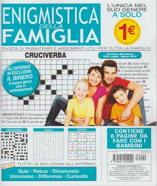 Enigmistica Della Famiglia - n. 20 - bimestrale - luglio - agosto 2018