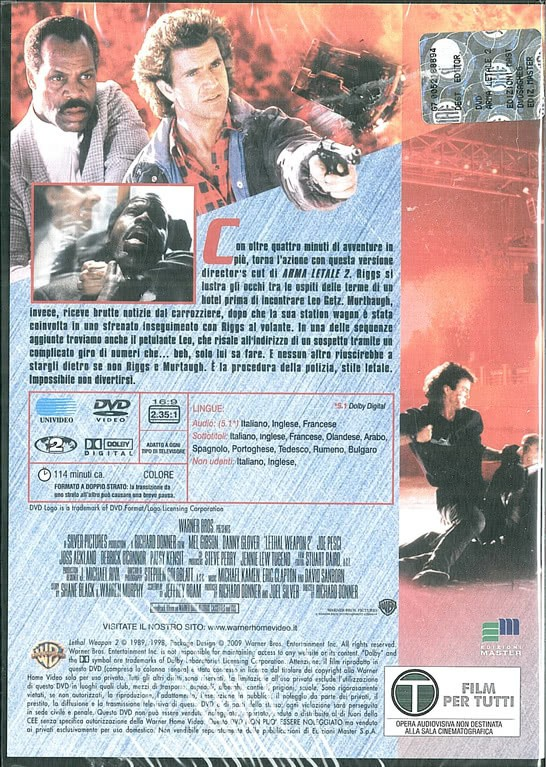 Arma Letale 2 - DVD - Mel Gibson, Danny Glover,  Richard Donner