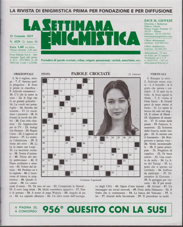 La Settimana Enigmistica - n. 4529 - 10 gennaio 2019 - settimanale