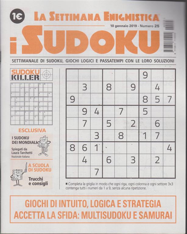 La settimana enigmistica - i sudoku - n. 25 - 10 gennaio 2019 - settimanale