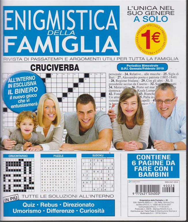 Enigmistica Della Famiglia - n. 23 - bimestrale - gennaio - febbraio 2019 -