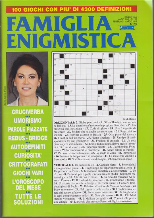 Famiglia Enigmistica - n. 193 - bimestrale - febbraio - marzo 2019 -