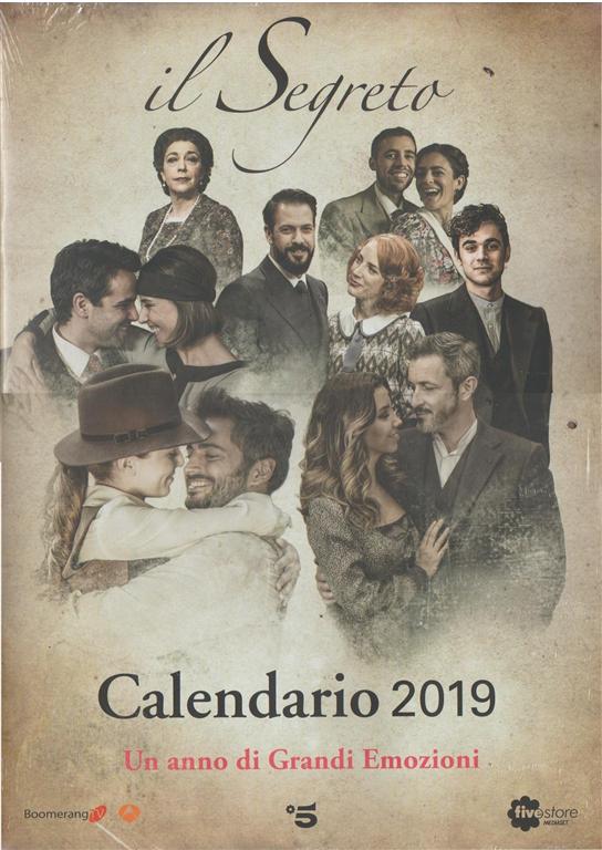 """Calendario 2019 """"il Segreto"""" by Fivestore Mediaset - cm. 28,5x40"""