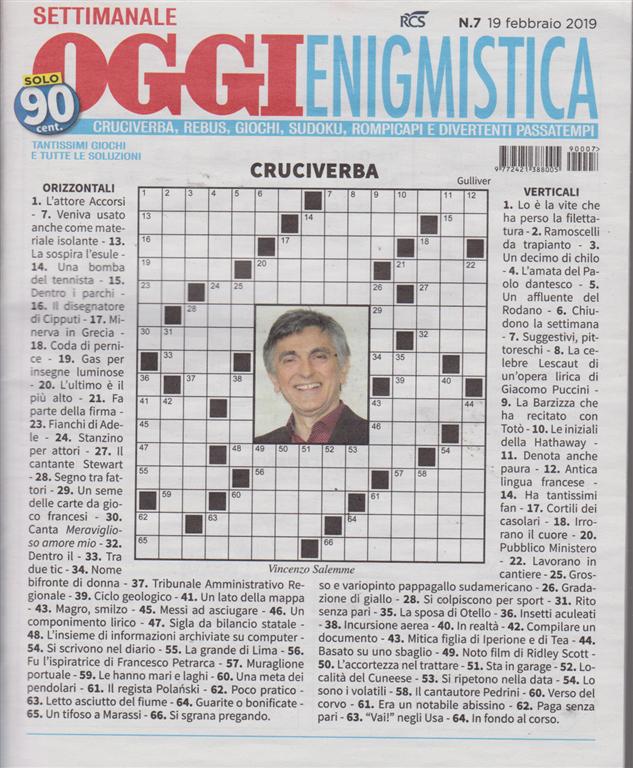 Settimanale Oggi Enigmistica - n. 7 - 19 febbraio 2019 -  settimanale