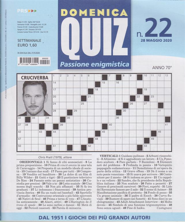 Domenica Quiz - n. 22 - 28 maggio 2020 - settimanale