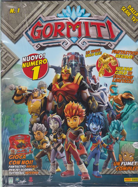 Gormiti Magazine - n. 1 - bimestrale - 10 aprile 2019 - rivista + Gormiti gold esclusivo + 2 bustine di cards