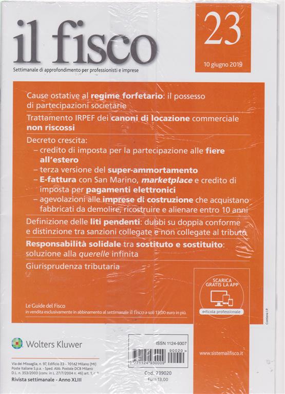 Il Fisco - n. 23 - 10 giugno 2019 - settimanale