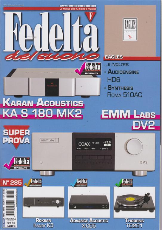 Fedelta' Del Suono - n. 285 - mensile - settembre 2019