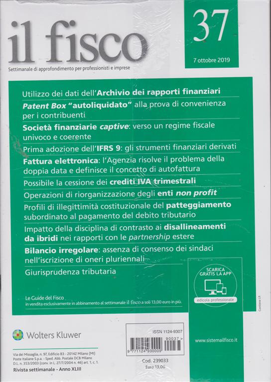 Il Fisco - n. 37 - 7 ottobre 2019 - settimanale - 2 riviste