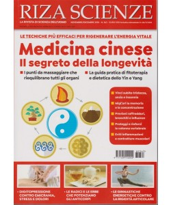 Riza Scienze - Medicina Cinese - N. 363 - Novembre - dicembre 2018 - bimestrale