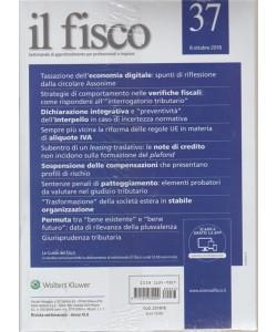 Il Fisco - n. 37 - 8 ottobre 2018 - settimanale