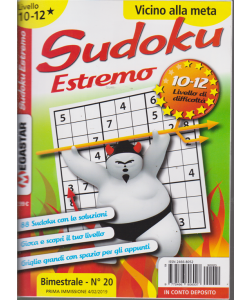 Sudoku Estremo - Liv.10-12 - n. 20 - bimestrale - 4/2/2019 -