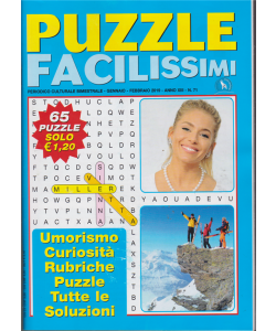 Puzzle facilissimi - n. 71 - bimestrale - gennaio - febbraio 2019 - 65 puzzle -