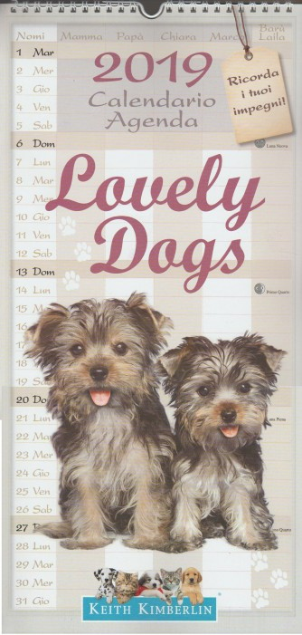Calendario Agenda Lovely Dogs 2019 - cm.22 x 48 c/spirale