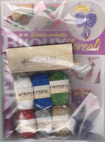 Piccole Idee Split - Uncinetto creativo -Bijoux floreali -  n. 71 - mensile + 3 gomitoli Mondial 100% cotone