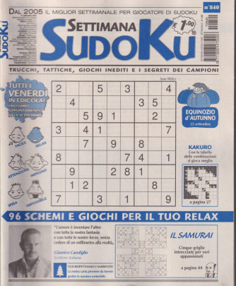 Settimana Sudoku - n. 840 - settimanale -17 settembre  2021