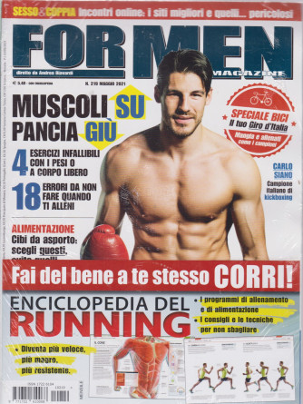 For men magazine - mensile n. 219-  maggio  2021 + Enciclopedia del running - 2 riviste