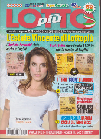 Lotto Piu' - n. 394- mensile -agosto 2021 - 52 pagine