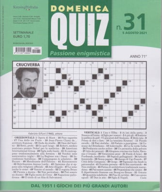 Domenica Quiz - n. 31- settimanale -5 agosto  2021