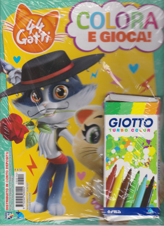 Sticker Games - 44 Gatti - Colora e gioca! - n. 14 - +  6 colori Giotto turbo color -  5/6/2021 - bimestrale