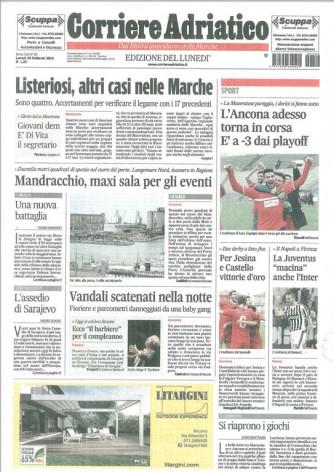 Corriere Adriatico Ancona - quotidiano di Lunedì 29 Febbraio 2016
