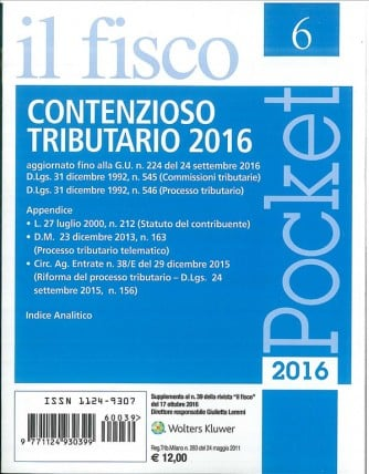 Fisco POCKET Supplementi - Contenzioso Tributario 2016