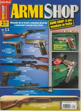Armi Shop - mensile n. 11 Novembre 2017 - il più venduto in Italia