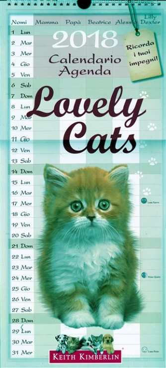 "Calendario Agenda ""Lovely Cats"" 2018 cm. 22x48 con spirale"