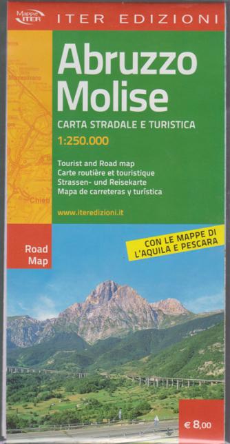 Mappa Abruzzo Molise -  carta stradale e turistica 1:250.000 - con le mappe di L'Aquila e Pescara