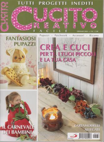 Cucito creativo facile - n. 136 - gennaio 2020 - mensile - tutti progetti inediti - cartamodelli allegati