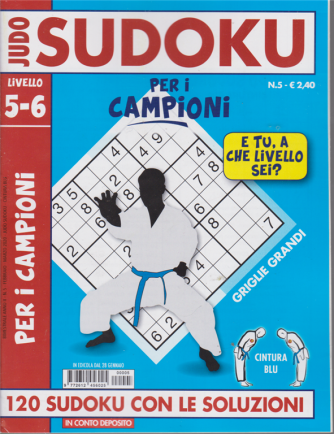 Judo Sudoku - Per i campioni - n. 5 - livello 5-6 - 28 gennaio 2020