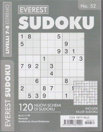 Everest Sudoku - n. 52 - livelli 7-8 estremo - bimestrale -