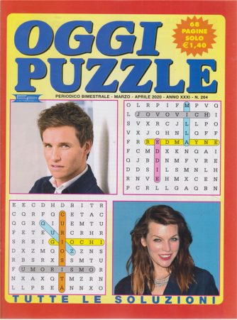 Oggi puzzle - n. 264 - bimestrale - marzo - aprile 2020 - 68 pagine