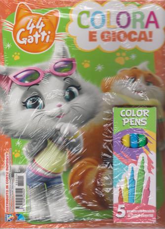 Sticker Games - 44 Gatti - Colora gioca! - n. 1 - 5/4/2019 - bimestrale + 5 pennarelli lavabili in colori assortiti Color Pens