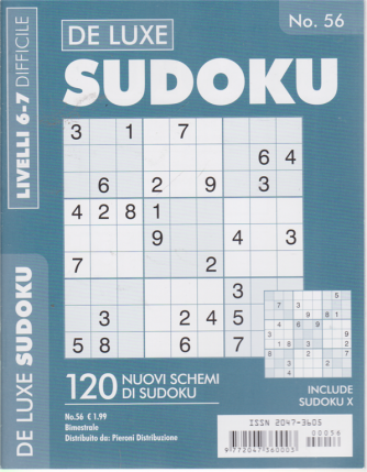 De Luxe Sudoku - n. 56 - bimestrale - livelli 6-7 difficile -