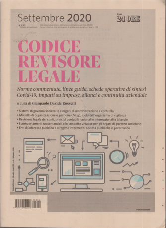 Sindaci & Revisori - Codice del revisore legale - n. 4 - settembre 2020 - mensile