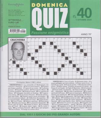 Domenica Quiz - n. 40 - 1 ottobre 2020 - settimanale
