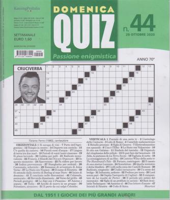 Domenica Quiz - n. 44 - 29 ottobre 2020 - settimanale