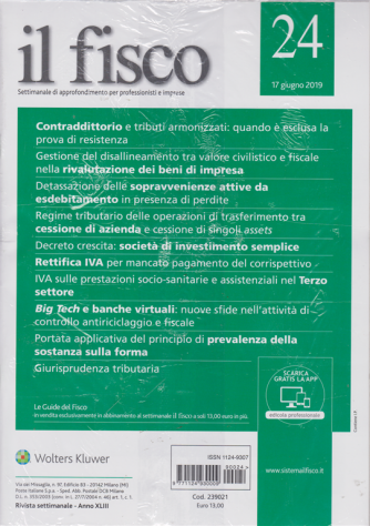 Il Fisco - n. 24 - 17 giugno 2019 - settimanale