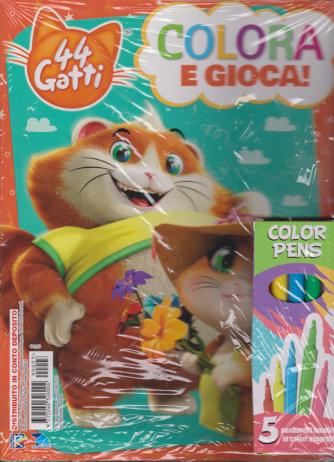 44 gatti - Colora e gioca - n. 3 - 5/8/2019 - bimestrale+ 5 pennareli lavabili in colori assortiti